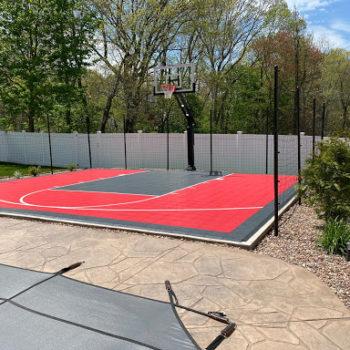 Netting Surrounding Basketball Court, Customer Photo of Finished Netting Installation